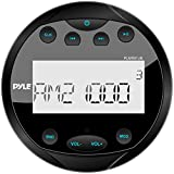 Pyle Round Waterproof Marine Stereo - 4x28 W Aquatic Boat In Dash Gauge Radio Receiver System with Bluetooth, AM FM, Digital LCD, USB, AUX, RCA - Includes Wiring Harness, Bracket - PLMR91UB (Black)