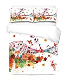 Suncloris,Color Music Notes,2pcs Home Decor Bedding Sheet Duvet Cover Set .Included:1Duvet Cover,1Pillowcase(no Comforter Inside) (Color Music Notes, Twin)