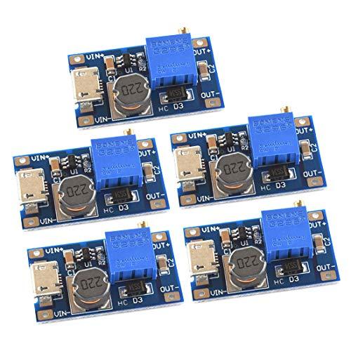 SDTC Tech 5pcs DC-DC Boost Converter 2V-24V to 5V-28V 2A Adjustable Voltage Regulator Micro USB 5V 9V 12V 24V Step Up Power Supply Module