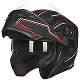 ILM Motorcycle Dual Visor Flip up Modular Full Face Helmet DOT with LED Light (L, WHITE - LED)