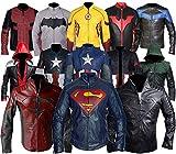 Mens Bat Logo Arkham Knight Jason Todd Red Hood Robin Biker Costume PU Leather Jacket