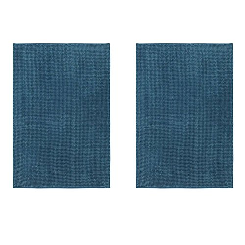 IKEA TOFTBO Microfiber Bath Mat - 35 x 24 | 1.25 Thick - Ultra Soft Super Absorbent Fast Dry (2, Green-Blue)