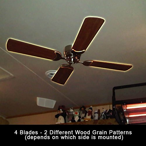 Rv Ceiling Fan Blades Functional Replacement For 12 Volt Motor Home Travel Trailer Reversible Elegant Durable Wood Grain Pattern Free Drilled Mounting Hole Replace Existing Worn Broken Fan 4 Pieces