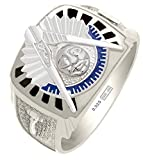 Customizable Solid Back Mens 0.925 Sterling Silver Gold Masonic Past Master Ring