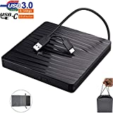 External CD DVD Drive,with Drawstring Bag,Portable Optical Drive with USB3.0 Type-C for VCD/DVD/CD Burner/Writer/Reader/Player, for Laptop/PC/Desktop/MacBook, Suitable for Windows/Linux/Mac OS