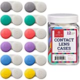 Contact Lens Cases, 12 Pack - Assorted Separate Colors for Left/Right Eyes - Durable, Compact, Portable, Bulk Supply - by Optix 55