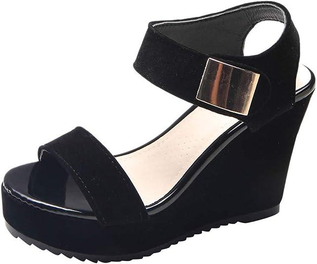 Sandalias de Vestir Verano de Cuña Plataforma Negras