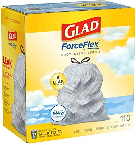 Glad ForceFlex Protection Series Tall Kitchen Trash Bags, 13 Gal, Fresh Clean with Febreze, 110 Ct (Package May Vary)