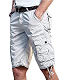 Les umes Men's Army Chino Summer Casual Trail Work Bermuda Outdoor Cargo Shorts Grey 32
