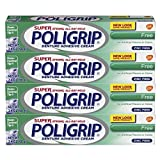 Super Poligrip Original Formula Zinc Free Denture Adhesive Cream, 2.4 ounce (Pack of 4)