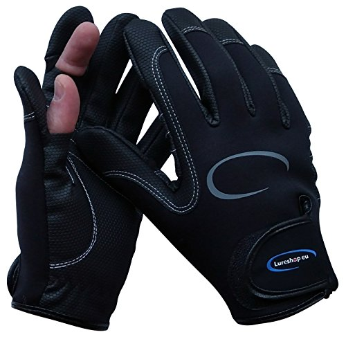 LURESHOP.EU Stretch Neoprene Fishing Gloves 2 Cut Fingers - Best Use in Light Cold Weather Conditions - Size M, L and XL (Black, M)