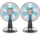 Rowenta VU2531 Turbo Silence Oscillating 12-Inch Table Fan Powerful and Quiet, 4-Speed, Bronze, 2-Pack Bundle