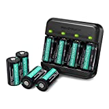 RCR123A Rechargeable Batteries RAVPower Protected Batteries [8 Pack 3.7V 700mAh ] with Arlo Battery Charger and Battery Case for Arlo VMC3030 VMK3200 VMS3330 3430 3530 Wireless Security Cameras