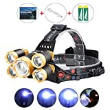 LED Headlamp Flashlight , Upgraded 12000 Lumen USB Rechargeable Headlamp, 4 Modes IPX4 Waterproof 5 Bright CREE LED Zoomable Head Lamp with Adjustable Strap for Camping Cycling Hiking Outdoor Hard Hat