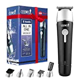 CEENWES Updated Version 5 in 1 Waterproof Man's Grooming Kit Hair Clippers Professional Beard Trimmer Dual Shaver Rechargeable Body Trimmer Nose Hair Trimmer Cordless Precision Trimmer