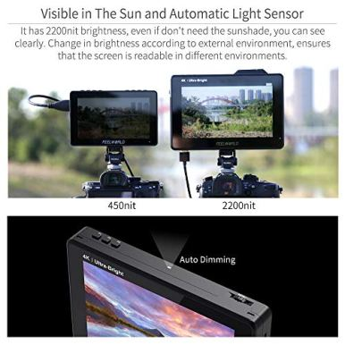 FEELWORLD-LUT7-PRO-7-Inch-Ultra-Bright-2200nits-DSLR-Camera-Field-Monitor-3D-LUT-Touch-Screen-HDR-with-Waveform-F970-External-Power-and-Install-Kit-4K-HDMI-Input-Output-1920X1200-IPS-Panel