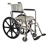 Pivit Cushioned Rehab Shower Commode & Wheelchair, 17 ¼' HiBack with Premium 24' Rear Wheels - Removable Hygienic Plastic Pail and Lid Included - Fits Over Most Standard and Elongated Toilet Bowls