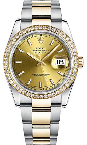 61TWlCs cOL Champagne Dial with Index Hour Markers Solid 18k Yellow Gold Bezel Set with Diamonds Self-winding Automatic Chronometer Movement, COSC Chronometer Certified