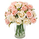 CEWOR 2 Pack Artificial Rose Flowers 12 Heads Silk Flowers Rose Bouquet for Home Bridal Wedding Party Festival Decor (Champagne-Colored)