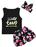 Little Girls Floral Outfit Set Wild Two Vest Short Set with Headband (3T, Black03)