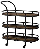 Product review for Baxton Studio Karlin Rustic Industrial Style Antique Textured Metal Distressed Wood Mobile Kitchen Bar Serving Wine Cart, Black