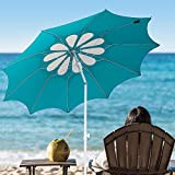AMMSUN 10 Panels 7ft Polyester Fabric Outdoor Beach Umbrella,...