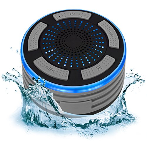 Portable IP67 Waterproof Wireless Bluetooth Speaker Shower FM Radio Built-In Speakerphone LED Lights (Gray)