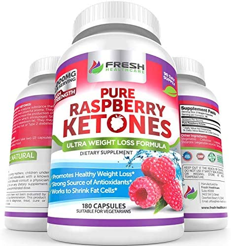 Pure 100% Raspberry Ketones Max 1000mg Per Serving - 3 Month Supply - Powerful Weight Loss Supplement - Provides Energy Boost for Weight Loss - 180 Capsules by Fresh Healthcare 1