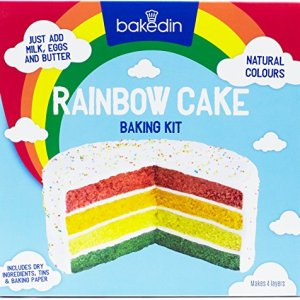Bakedin Rainbow Cake Baking Kit, 1000g- Includes Coloured Cake Mixes, 4 Baking Tins, Baking Paper, Sprinkles, Cake Board – All Natural Ingredients 51sgH5Z6X7L