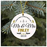 Our First Christmas as Mr & Mrs Ornament 2019 Finley Christmas Tree Decorations, Present Wedding Ornament for Couple Married Wedding Decoration 3' Ornament