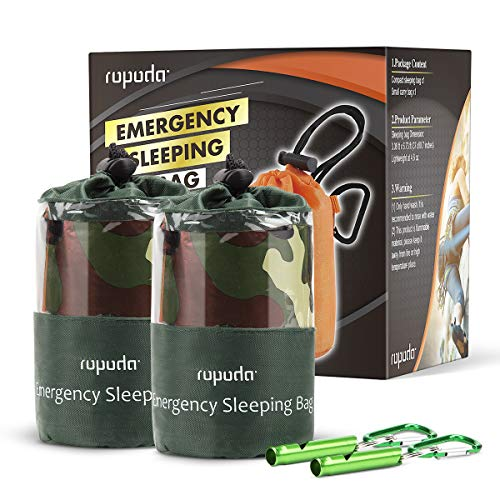 ROPODA Emergency Sleeping Bag Survival Bivy Sack - Use as Emergency Bivy Sack, Survival Sleeping Bag, Mylar Emergency Blanket-Includes Stuff Sack with Survival Whistle(2 Pack,Camouflage Color)