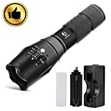 YIFENG Tactical Flashlight, High Lumen LED Flashlight with Rechargeable 18650 Lithium Ion Battery Charger, Super Bright 5 Modes Flashlight Torches for Camping Emergency (5.31 inch)