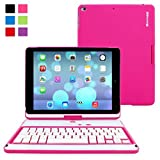 iPad Air and New iPad 2017 9.7' Keyboard, Snugg [Hot Pink] Wireless Bluetooth Keyboard Case Cover 360° Degree Rotatable Keyboard for Apple iPad Air and New iPad 2017 9.7'