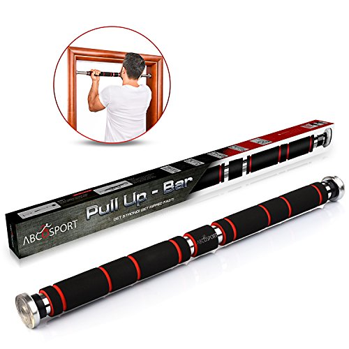 Pull Up Bar for Doorway, Chin Up Bar with Comfort Grips - Easy Mount & Adjustable Length - Suitable for 24'-39' Door way - Heavy Duty Home Workout Equipment for Upper Body Exercise & Sit Ups, Push Ups