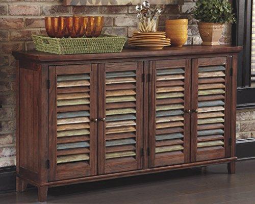 Ashley Furniture Signature Design - Mestler Dining Room Server - 2 Cabinet  Serving Table - Dark Brown
