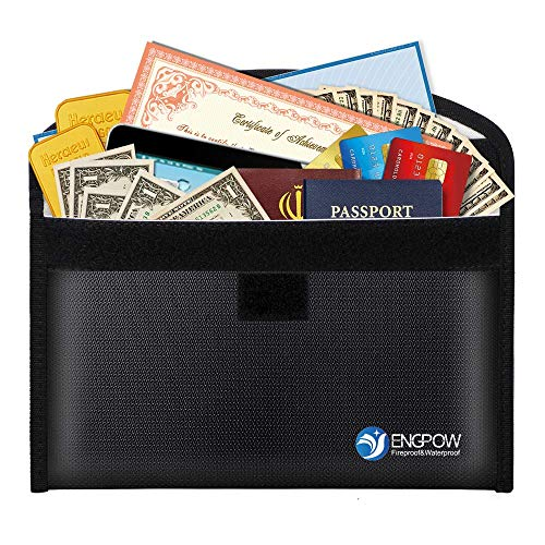 Fireproof Bag Safe Envelopes 10.2'x6'Non-Itchy Silicone Coated Money Bag for Cash, Passport,Jewelry, Important Documents,7-8 Inch Sleeve Bags Black-M