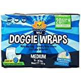 Disposable Dog Male Wraps   20 Premium Quality Adjustable Pet Diapers with Moisture Control and Wetness Indicator   20 Count Medium Size