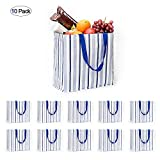 ATBAY Reusable Grocery Bags Waterproof Washable shopping tote bags Lightweight but Heavy Duty, Stripes (10 pack)
