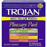 Trojan Pleasure Pack Lubricated Condoms, 36ct Variety pack