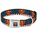"""Buckle-Down Seatbelt Buckle Dog Collar - Superman Shield Americana Red/White/Blue/Yellow - 1"""" Wide - Fits 9-15"""" Neck - Small"""