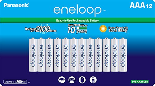 Panasonic BK-4MCCA12FA eneloop AAA 2100 Cycle Ni-MH Pre-Charged Rechargeable Batteries, (package includes 12AAA silver or 12AAA white)