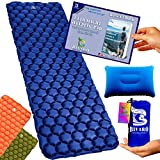 BIVARO Ultralight Sleeping Pad Blue for Backpacking -Travel and Hiking + Lightweight Pillow + Ebook • Complete Bundle. Waterproof Camping Mattress Best for Sleeping Bag,Hammock and Tent.