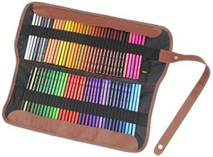 Everyday Essentials Premium Colored Pencils – Set of 72 Individual Colors with Roll up Pouch Canvas Pen Bag (72-Color)