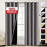 100% Blackout Curtains for Bedroom Energy Saving Pair Curtains for Sliding Glass Doors Thermal Insulated Curtains with Black Liner, Double Layer Lined Curtains 96 Inches Length, Grey
