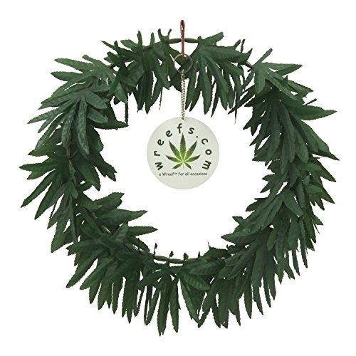 Wreef Brand Decorative Artificial Marijuana Wreath - 12 inch diameter - 420 Friendly Marijuana Decor, Parties, Advocacy Events, Adult Gifts,...