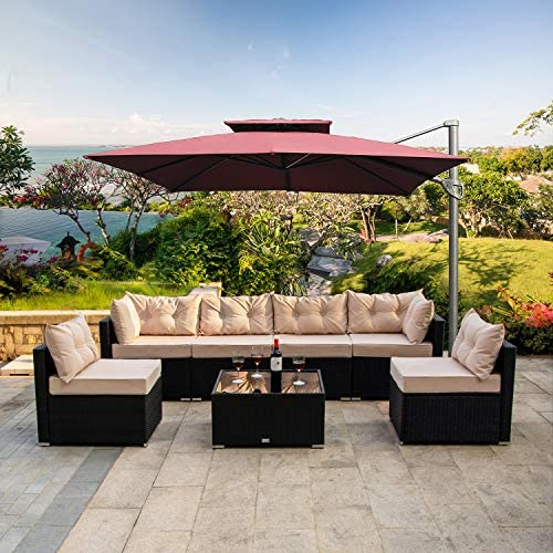 Allewie 7 Pieces Outdoor Patio Furniture Set, PE Rattan Wicker Sofa Set, All-Weather Wicker Conversation Set with Seat Cushions, Back Pillows and Coffee Table, Beige