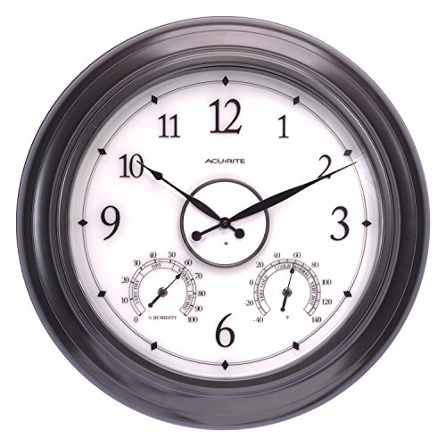 AcuRite 75133M LED Illuminated Outdoor Clock with Temperature and Humidity, 24', Black