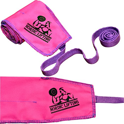 Cross Training Wrist Wraps (1 Pair/2 Wraps) 32' Pure Strength for Weightlifting/Workout/Gym/Powerlifting/Bodybuilding -Support For Women & Men -Premium Quality Equipment -(Pink Purple)-1 Year Warranty