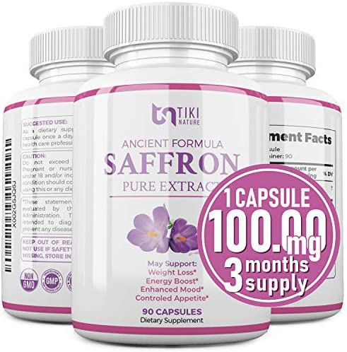Saffron Extract Supplement 100mg - Powerful Appetite Suppressant for Weight Loss Eye & Heart Health Support - Organic Anti-Stress Energy & Mood Booster for Men & Women - 90 Veggie Pills 1