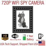 SecureGuard 720P XFRAME Xtreme WIFI Battery Powered Photo Picture Frame Spy Camera Wireless IP P2P Wi-Fi Mobile Hidden Nanny Cam Spy Camera Gadget (UP TO 1 YEAR BATTERY LIFE)